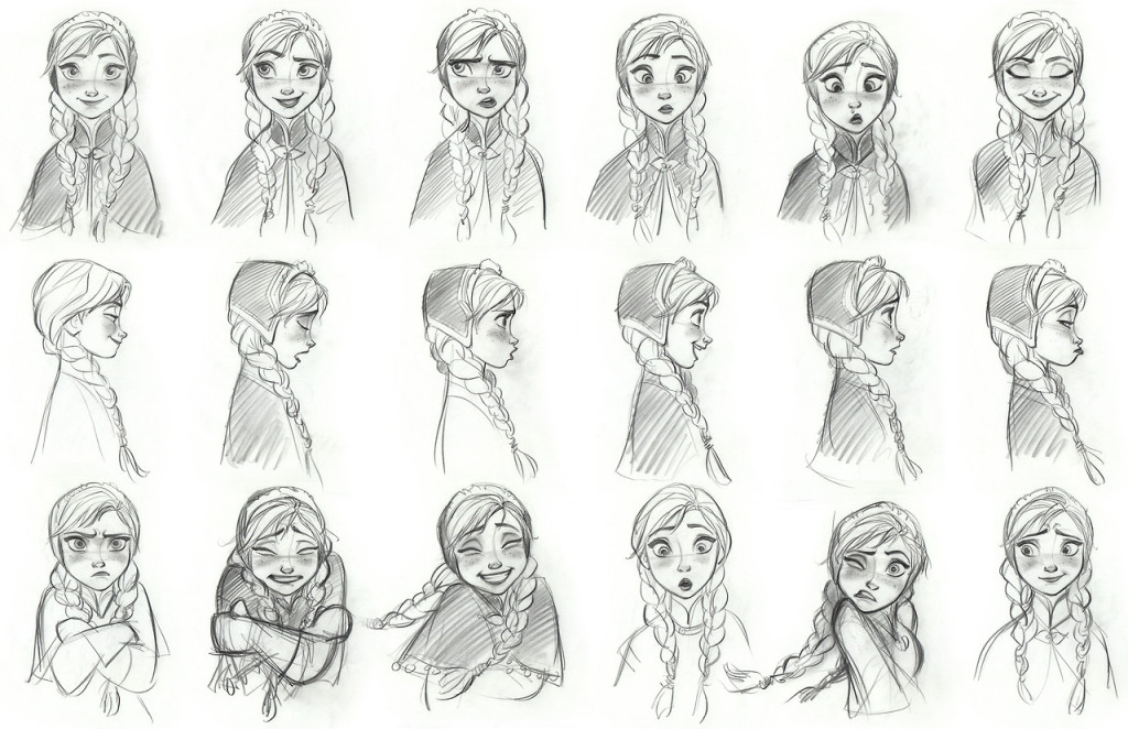 """FROZEN"" Anna model sheet. ©2013 Disney. All Rights Reserved."